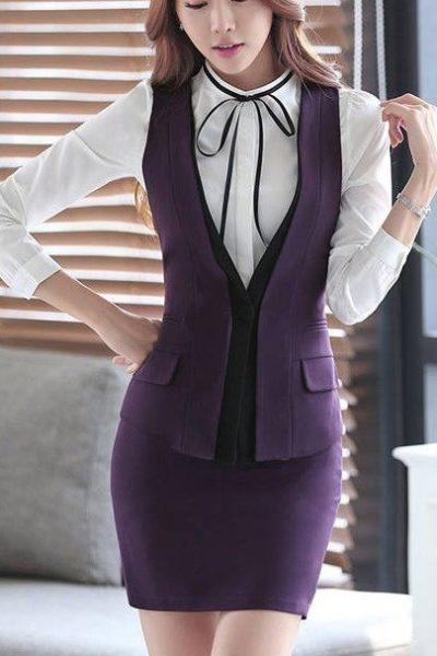Đồng phục áo gile nữ công sở 09